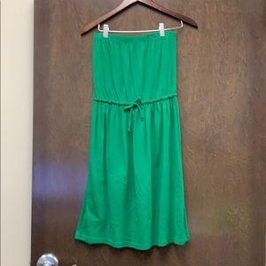 NWOT. Strapless green dress with drawstring waist